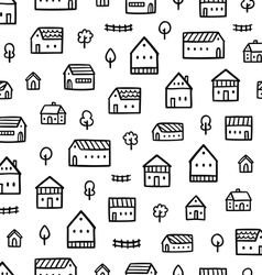 City houses doodle pattern vector image