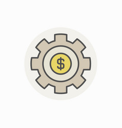cogwheel with dollar colorful icon vector image vector image