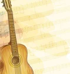 Guitar on music background vector image vector image