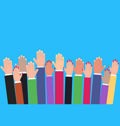 hands raising up raised colorful arms vector image