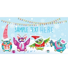 Merry Christmas card with Owls vector image vector image