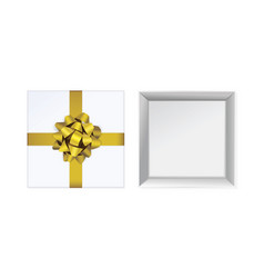 open white gift box and with yellow bow vector image
