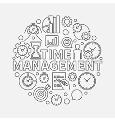 Time management line round vector image vector image