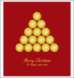 Christmas card with golden tree and balls on red vector image