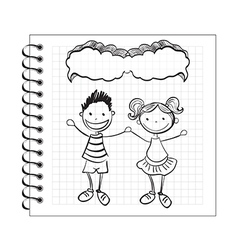 doodle kids with speech bubble on notepad vector image