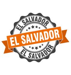 el salvador round ribbon seal vector image vector image