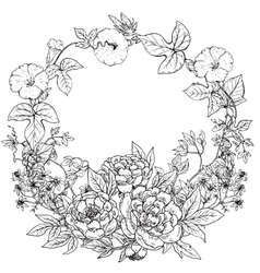frame with hand drawn wreath of peony vector image