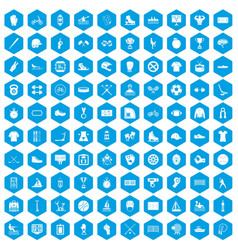 100 sport team icons set blue vector