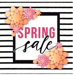abstract spring sale poster with paper cut vector image