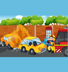 accident scene with cars on fire on road vector image