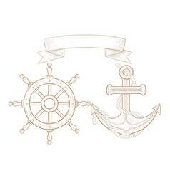 anchor and boat steering wheel hand drawn sketch vector image