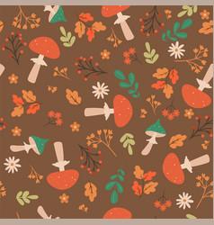 Autumn seamless pattern with amanita vector