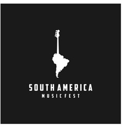 bass guitar with south america map for music vector image