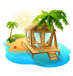 Beach vacation thatched hut bungalow on tropical vector