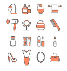 Beauty icons set vector