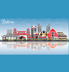 Bekasi indonesia city skyline with color vector