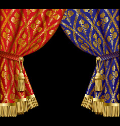 blue and red drapes vector image