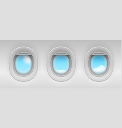 blue sky and cloud behind airplane portholes vector image