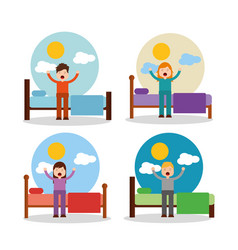 boy and girl waking up in bed stretching sunny day vector image