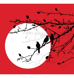 branches with birds vector image