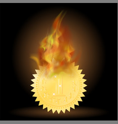 burning gold medal icon with fire flame vector image