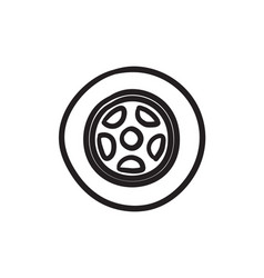 Car wheel sketch icon vector