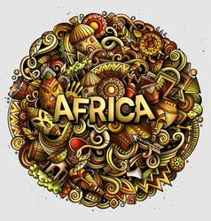 cartoon cute doodles africa word vector image