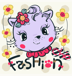 cat girl smiling wearing pink flower headband vector image