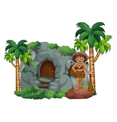 Caveman and cave vector image