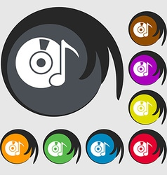 CD or DVD icon sign Symbols on eight colored vector image