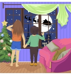 children watching Santa and his reindeer in flight vector image