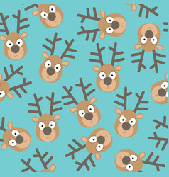 Christmas seamless pattern with deers faces vector