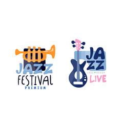 Collection jazz festival premium logo design vector