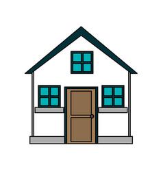 Colorful image cartoon facade comfortable small vector