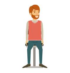 Colorful silhouette of man with beard in formal vector