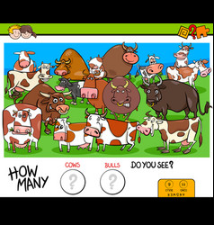 Counting cows and bulls educational game for kids vector