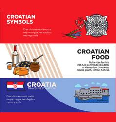 Croatian symbols and food promotional travel vector