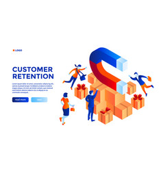 Customer retention concept background isometric vector