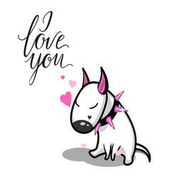 Cute cartoon dog white bull terrier in vector