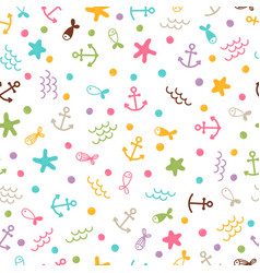cute sea summer seamless pattern with pearls vector image
