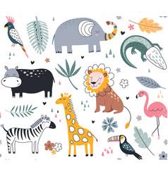 cute seamless pattern with safari animals vector image