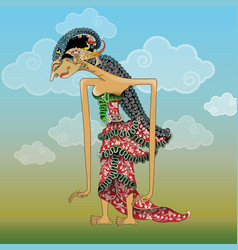 Dewi shinta shadow puppet character vector