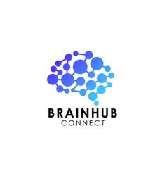 Digital brain brain hub logo design brain vector