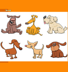 Dogs and puppies cartoon characters set vector