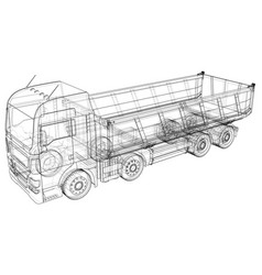 Dumper truck dumped wire-frame style the layers vector
