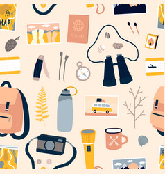 Equipment for outdoor adventure and travel pattern vector