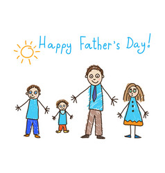 Fathers day kids drawing vector