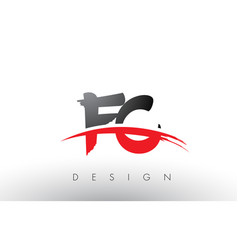 Fc f c brush logo letters with red and black vector
