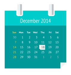 Flat calendar page for December 2014 vector image