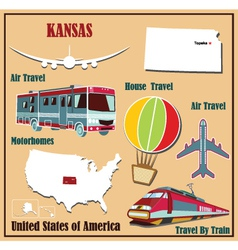 Flat map of Kansas vector image
